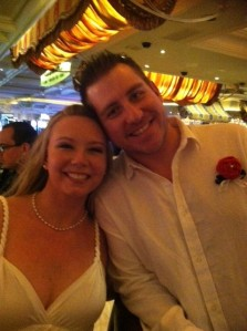 Waiting for the limo after the ceremony... at the Bellagio bar where most married couples go after they get hitched.